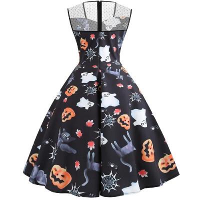 C064 Cross-border Halloween womens gauze square collar sleeveless night ghost pumpkin face print big swing dress black