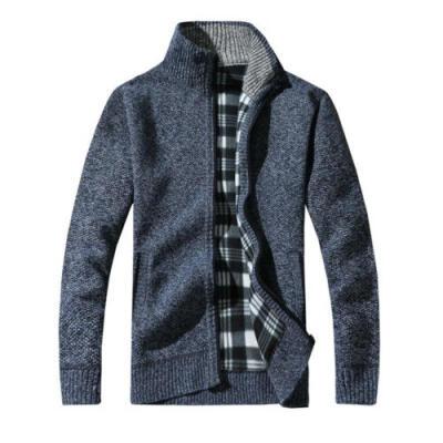 Hot Mens Winter Warm Slim Sweater Knitted Cardigan Jumper Zip Fleece Lined Coat