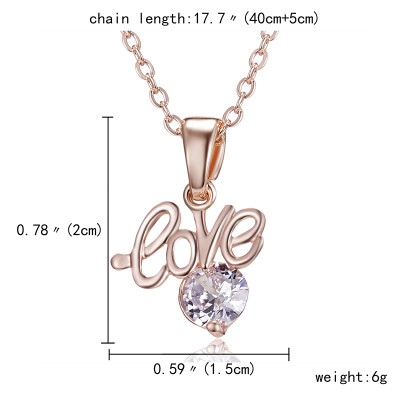 Fashion Zircon Pendant Necklace Flower Love Heart Dance Girl Angel Rose Gold Crystal Pendant Necklace for Women Jewelry Gift