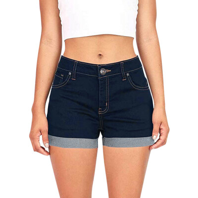 Tailored Women Low Waisted Washed Solid Short Mini Jeans Denim Pants Shorts