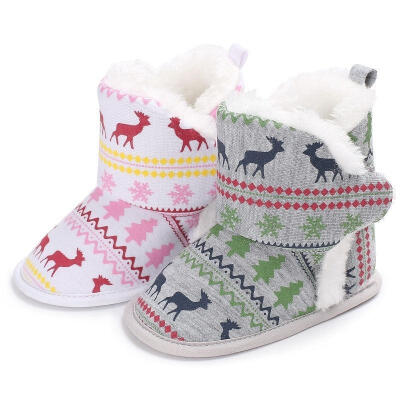 Newborn Baby Girl Boy Soft Sole Christmas Crib Shoes Anti-slip Prewalker 0-18M