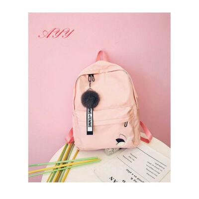 Women Canvas Shoulder Backpack School Rucksack Travel Satchel Embroidery Bag