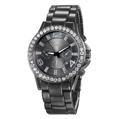 Geneva watches New business mens watches Mens watches Alloy diamond watch Three-eye steel belt quartz watch