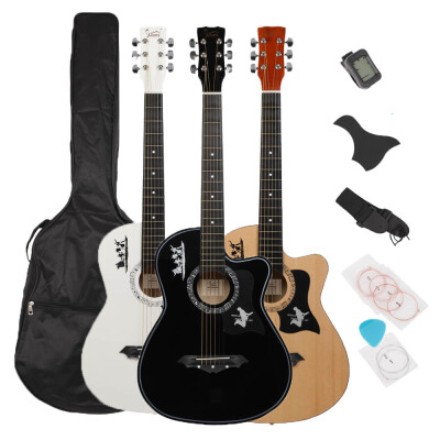 """Glarry GT507 38"""" Spruce Board Guitar with Bag String Pick Strap LCD Mixer&Guard Plate for Beginner 3-Color"""