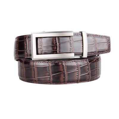 BPSTAR Belt Mens Automatic Buckle Genuine Leather Mens Ratchet Belt Business Series Mens Real Belt for Pants