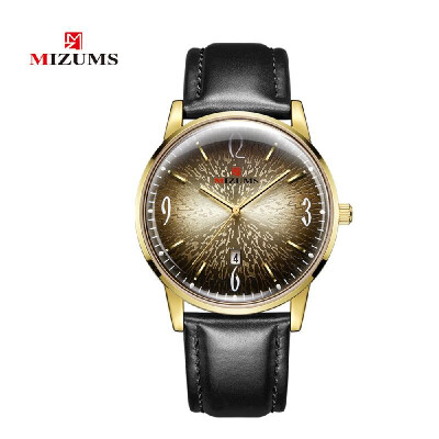 MIZUMS Men Fashion Waterproof Calendar Watch Business Leather Band Analog Quartz Watch