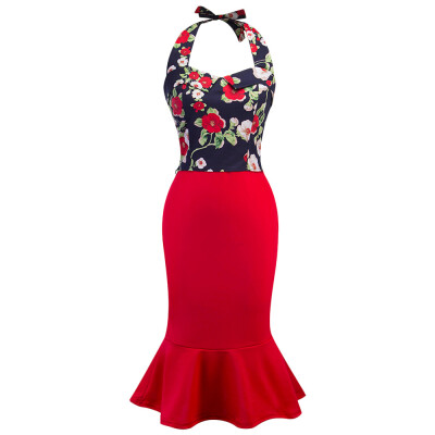 Stylish Halter Neck Backless Floral Print Tank Top with Mermaid Skirt Women Two-piece Dress