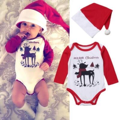 2Pcs Newborn Baby Girl Boys Christmas Cotton Romper Bodysuit Hat Outfits Clothes