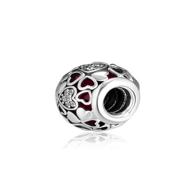 CKK DIY 925 Silver BeadEncased in Love CharmPink & Clear CZ CK015 16514
