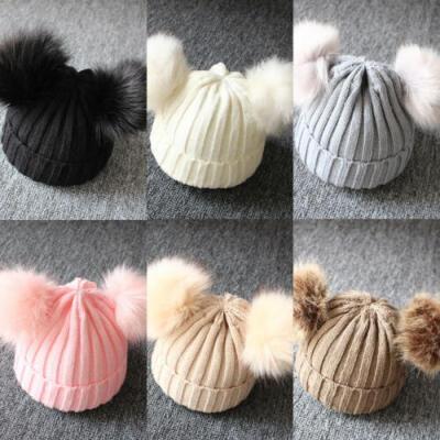 Newborn Kids Baby Boys Girls Fur Pom Hat Winter Warm Knit Bobble Beanie Cap UK