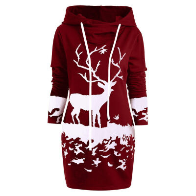 Women Casual Christmas Sweatshirt Hooded Winter Warm Long Sleeve Cartoon Elk Print Femme Plus Velvet Hoodies Sweatshirts