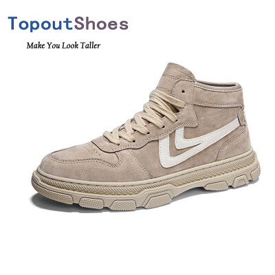 TopoutShoes 3inch Men Hidden Taller High Top Sneaker Leather Elevator Skateboarding Shoes Increase Height 75cm