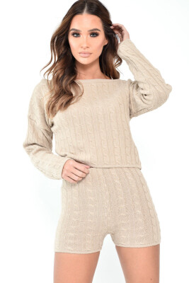 Women Chunky Knitted High Off Shoulder Neck Top Bottom Lounge Wear Tracksuit Set