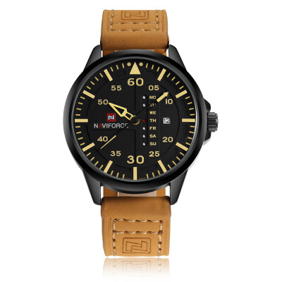NAVIFORCE Chic Fashion Man Watch 3ATM Water Resistant High Quality Analog Quartz Wristwatch with Date Week Display