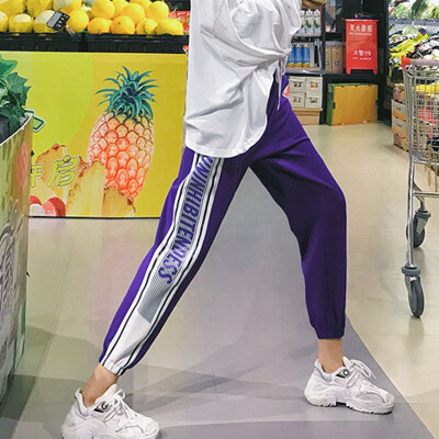 Women High Waist Pencil Pants Harajuku Letter Print Hip Hop Harem Trousers Fashion Streetwear Loose Trousers