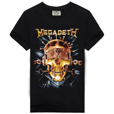 Men's Black 3D Graphics Printed Rock Skull Pattern Short Sleeve T-Shirt Top Tee Shirt -XXXL(Mega Deth)