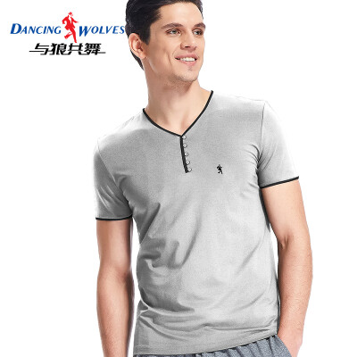 Dance with wolves short-sleeved T-shirt mens cotton slim solid color V-neck half-sleeve male 9869 gray
