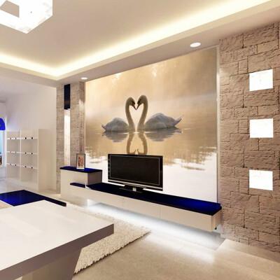 Custom 3d Wall Mural Wallpaper Roll Romantic Swan Living Room