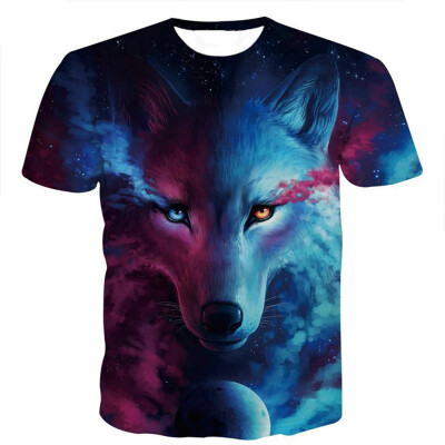 3D Moon wolf wolves T-shirts high elastic T-shirt print fitness tops O-neck fashion size 3XL short sleeve T-shirts