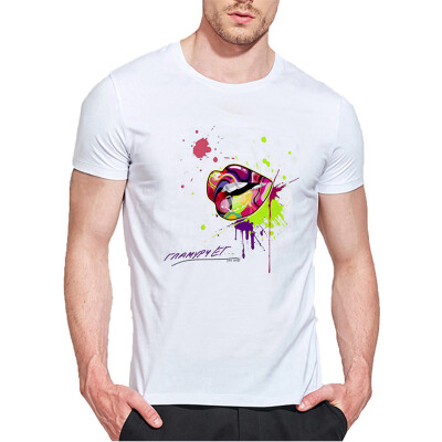 Mens O Round Neck Casual Short Sleeves Fashion Cotton T-Shirts Love Picture Digital Print