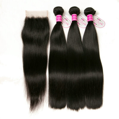 CLAROLAIR Hair Brazilian Virgin Hair With Closure 3 Bundles With Closure Brazilian Straight Hair With Closure Virgin Unprocessed H