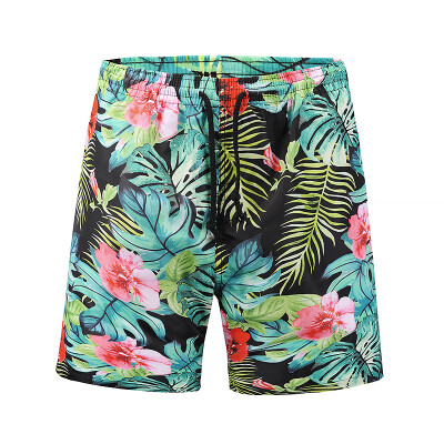 Ouma beach pants 2018 summer new mens quick-drying pants 3D plant print swimming trunks casual tide brand mens clothing