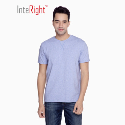 INTERIGHT round neck T-shirt male classic color cotton short-sleeved blue