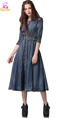 M L elegant cotton new spring 2018 vintage long jeans dress women half sleeve denim a line mid calf v neck embroidery belt