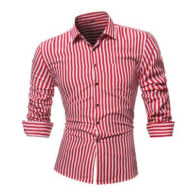 Mens Printed Striped T Shirt Casual Long Sleeve Shirt Tops