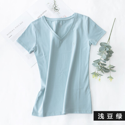 Kangshu DaiShu solid color simple short-sleeved T-shirt ladies V-neck Slim half-sleeve T-shirt tops versatile cotton bottoming shirt shallow bean green