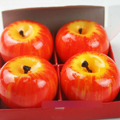 Vanker 4pcs Christmas Red Apple Shape Fruit Scented Candle Home Decoration Gift
