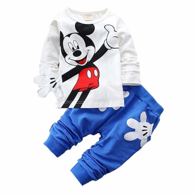 Fashion Brand Autumn Children Boy Girl Clothing Sets Baby Cotton Cute Mouse T-shirt Pants 2pcs Clothes Toddler Tracksuit