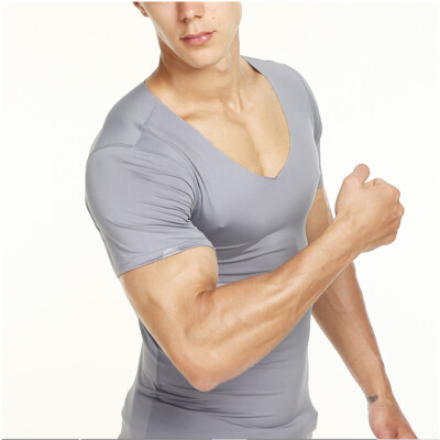 Cool Summer Mens Fashion T-shirt Tight Casual Short-sleeved T-shirt High Elastic Slim T Shirt Breathable Quick-drying