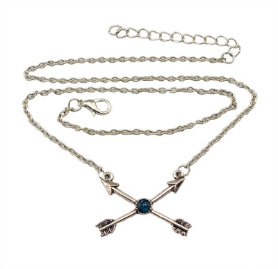 Idealway New fashion silver Round Turquoise Arrow Pendant Necklace Females Jewelry