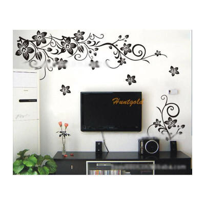 Black Flower Rattan Wall Sticker Home Bridal Party Room Decor Decals Paster Mural Stickers