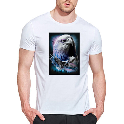 Mens O Round Neck Casual Short Sleeves Fashion Cotton T-Shirts 3D Eagle Head Picture Digital Print