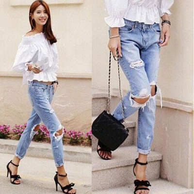 Lovaru ™Autumn New Fashion Cotton Jeans Women Loose Low Waist Washed Vintage Big Hole Ripped Long Denim Pencil Pants