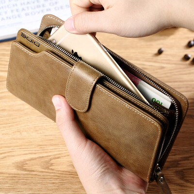 Di De DiDe mens wallet first layer leather retro long multi-function zipper wallet card package DQ736 oil wax black