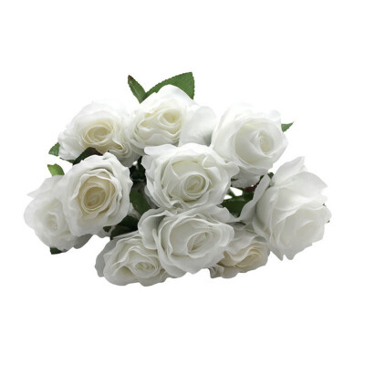 Vanker 5Pcs Artificial Silk Fake Rose Flower Stem for Wedding Party Decoration White