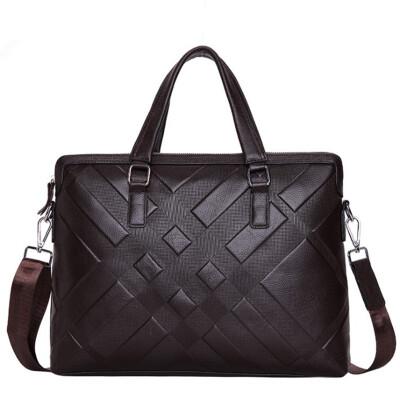Famous Brand New Design Mens Genuine Leather Briefcase Satchel Bags For Men Business Fashion Soft Cowhide Shoulder Laptop Bag