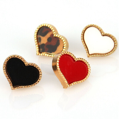 New 1 Pair Sweet Fashion Enamel Love Heart Shape Stud Earring Free Shipping