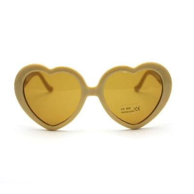 Vanker Cute Heart-Shaped Plastic Frame Retro Sunglasses Eyeglasses (Beige