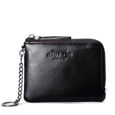 Haotton (HAUT TON) first layer of leather wallet men's card package business casual coin purse QB228 black