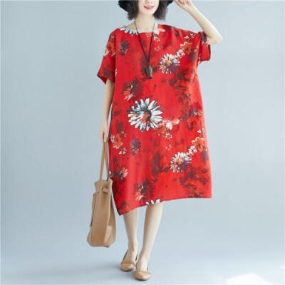 Women Plus Size Boho Half Sleeve Floral Cotton Linen Long Oversized Maxi Dress