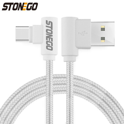 STONEGO Right Angle Data Sync Charging Cable Micro USB Type c Optional Tangle-Free Nylon Braided Cord Android Phone Upgrades