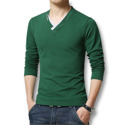 Free Shipping Fashion Mens T Shirts 2016 Spring Autumn New V Neck Long Sleeve Mens T shirt Men Casual Slim Fit Hot Sale