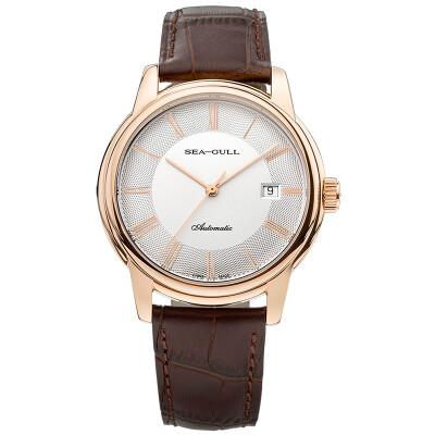 Seagull (SeaGull) watch simple business series fashion single calendar automatic mechanical couple table male watch white plate brown belt D519.405
