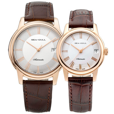 SEAGULL Mens Analogue Quartz Watch with Leather Strap