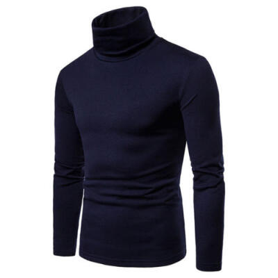 Mens fashion plain 100 cotton casual long-sleeved ribbed high-neck T-shirt top