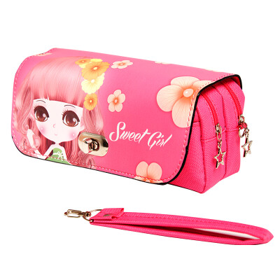 Shazer Culture Simple Cartoon Large Capacity Canvas Pencil Bag - Sweetheart Girl Children Student Student Pencil Bag Stationery Rose